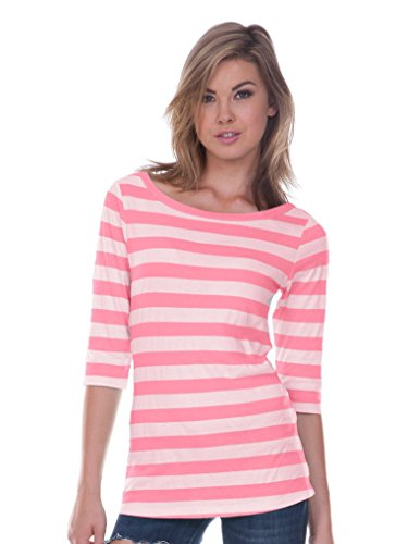 Pink Striped Shirt (Juniors Striped Boat Neck 3/4 Sleeve Shirt White Pink Flash SM)