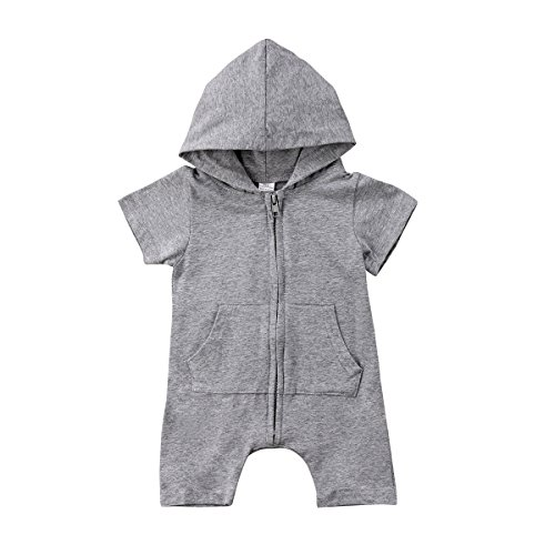 BiggerStore Infant Newborn Baby Boy Hooded Romper Jumpsuit Bodysuit Outfits Clothes (0-6 Months, Short Sleeve)