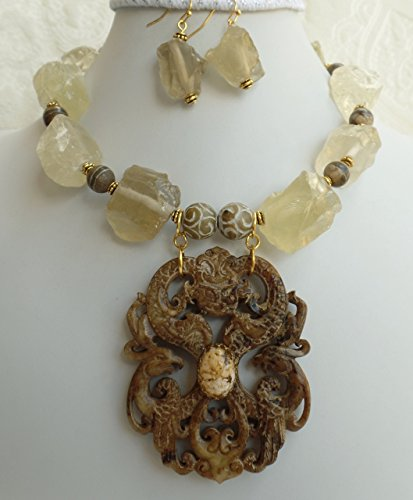 Carved Soochow Jade Pendant Big Citrine Quartz Nugget Gemstone Beads Necklace Earrings Bracelet One of a Kind