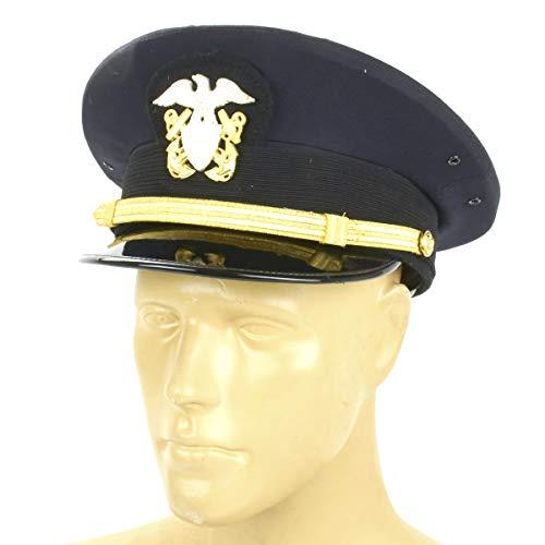 - U.S. WWII Naval Officer Blue Peaked Visor Cap- Size US 7.25 (58cm)