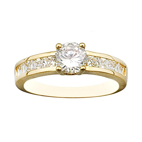 Bague zircone cubique centre griffe d'or 18k [AA7016]