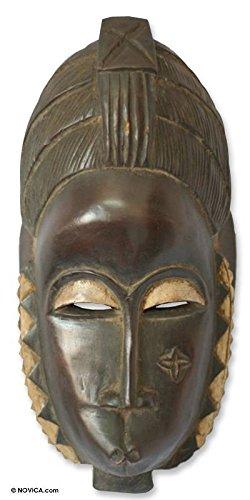 "NOVICA 143601"" Female Baule Fertility Ivorian Wood Mask"