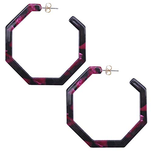 Purple Earrings Bohemian Acrylic Resin Hoop Earrings for Women Geometric Octagon Statement (Purple Resin Earrings)