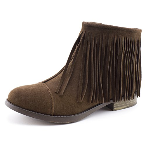 Kali Women's Western Side Zipper Fringe Faux Suede Ankle Booties, Womens, Brown, 8 M US Women (Ankle Boots Side Zipper)