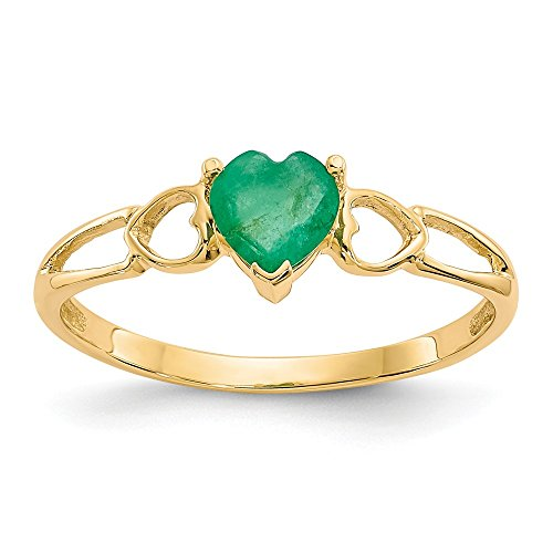 14k Yellow Gold Green Emerald Birthstone Band Ring