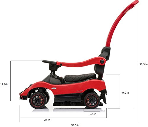 Licensed Pagani Multi Function 6V Kid Drive-able Ride on Stroller Push Car (Red) by Four Tone USA (Image #1)