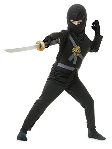Charades Child's Ninja Avenger Costume, Black, Medium (Ninjago Costume Childs)