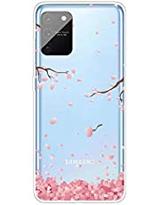 Miagon Transparent Case for Samsung Galaxy S10 Lite,Pink Cherry Flower Pattern Creaive Funny Clear Soft Ultra-Thin Flexible Silicone Drop-Protection Fully Protective Cover Case