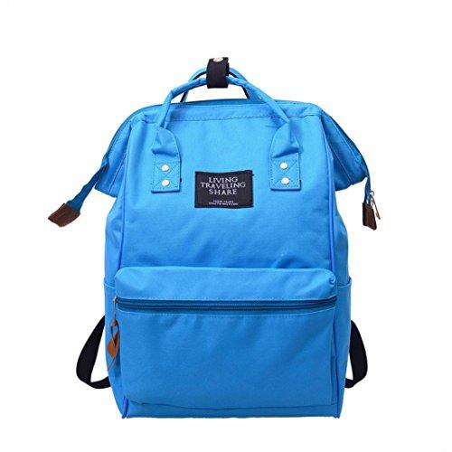 ALIKEEY_Borse Zaino Donna,ALIKEEY Zaino Solid Unisex Solid Zaino Da Viaggio Scuola Zaino Zipper Borsa Fashion Studente Solid Color Cielo Blu