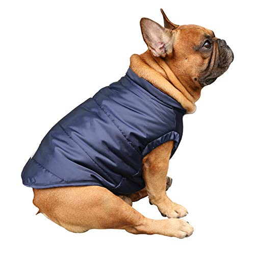 iChoue Dog Cotton Padded Coat Thick Winter Warm Vest Waistcoat Cold Weather Jacket Clothing for French Bulldog Pug Boston Terrier Shiba Inu- Blue L