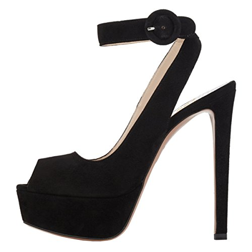 Shoes YDN Heel Ankle Wedding Toe Slingback Platform Women Black Straps Peep Pumps High Sandals rr7Iw