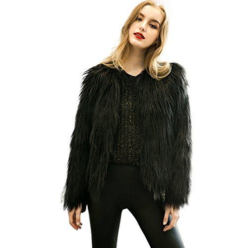 Brezeh Women Faux Fur Coat Ladies Winter Warm Fox Fur Jacket Parka Outerwear Sexy Black