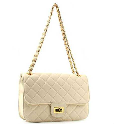 Ohraina Vintage Classic Single Flap Quilted Faux Leather Handbag Black Ivory Tan 841 (Ivory Handbag Purse)