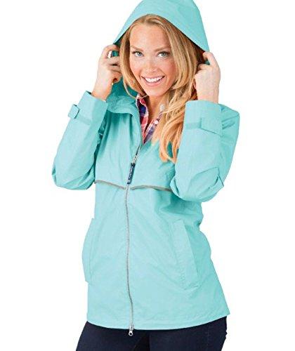 (Charles River Apparel Women's New Englander Waterproof Rain Jacket, Aqua Reflective 3XL)