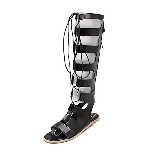 Wealsex Ladies Womens Flat Strappy Cut Out Lace up Roman Leather Knee High Gladiator Sandals Peep Toe Zip Summer Dress Shoes Black