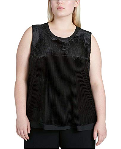 Calvin Klein Women's Plus Size Ribbed Velvet Layered-Look Shell Black 2X