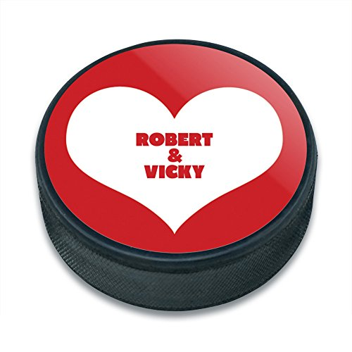 Personalized Pucks Hockey (Graphics and More Personalized Custom Red Heart Love Wedding Bridal Valentines Anniversary Ice Hockey Puck)