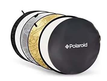 Polaroid Pro Studio 22' 5-In-1 Collapsible Circular Reflector Disc, Gold, Silver, Black, White & Translucent Includes Deluxe Carrying Case PLSE5IN1REF22
