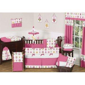 Sweet Jojo Designs Queen Kids Children's Bed Skirt for Pink Happy Owl Bedding Sets