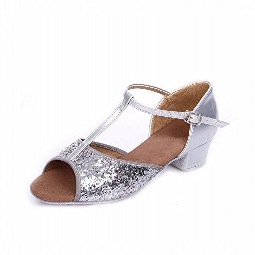BYLE Sandalias de Cuero Tobillo Modern Jazz Samba Zapatos de Baile Zapatos de Baile Latino de Panel para el Talón Plata Onecolor