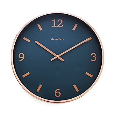 """Luxury Modern 12"""" Silent Non-Ticking Wall Clock with Rose Gold Frame (Blue Shore)"""