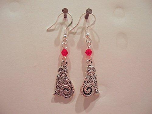 Antique-look Silver Alloy Fancy Cat & Swarovski Crystal Drop Earrings