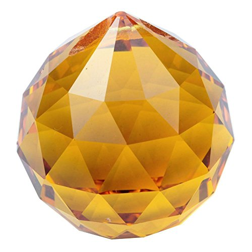 HONGVILLE Fancy Crystal Ball Prisms Pendant Feng Shui Sun Catcher for Holiday Decorating Hanging, 30mm, Yellow -