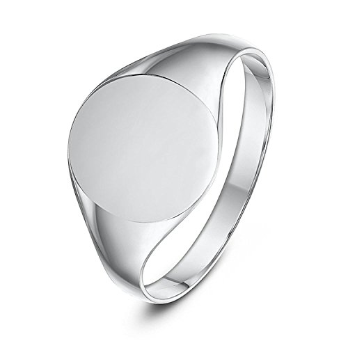 Ladies Sterling Silver Oval Shape Medium Weight Polished Signet Ring 9x11mm - Silver Signet