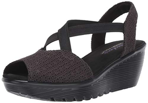 Skechers Women's Parallel-Peep Toe Gore Slingback Wedge Sandal, Black, 9.5 M -