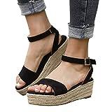 Women Gladiator Summer Sandals,❤️Maonet Women's Ladies Strap Ankle Buckle Platform Wedges Woven Sandals Roman Shoes 3cm-5cm (US:5.5, Black)