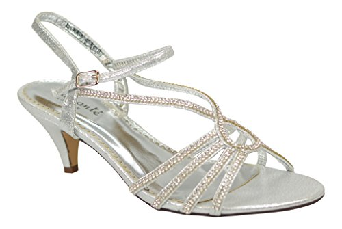 Chic Feet Diamante Party Wedding Prom Evening Low Heel Sandals Silver