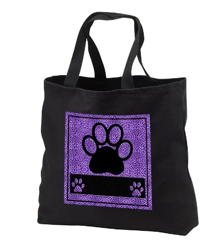 Doreen Erhardt Animal Print Collection - Cheetah Print Paw in Purple - Tote Bags - Black Tote Bag JUMBO 20w x 15h x 5d (tb_25906_3)