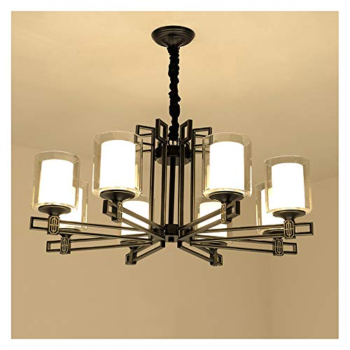 Painted Frosted Champagne Glass Hand (KDJHP Ceiling Lamp Classical Retro Wrought Iron Atmosphere LED Chandelier Villa Bedroom Tea House Hotel Guest Pendant Light -492 Chandelier (Color : 8 Heads))