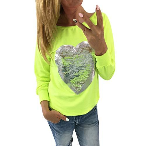 Women Loose Blouse, Womens Casual Solid Color Tops Sequin Heart Long Sleeve Cute Shirt Blouse (Genuine Rabbit 3/4 Coat Fur)