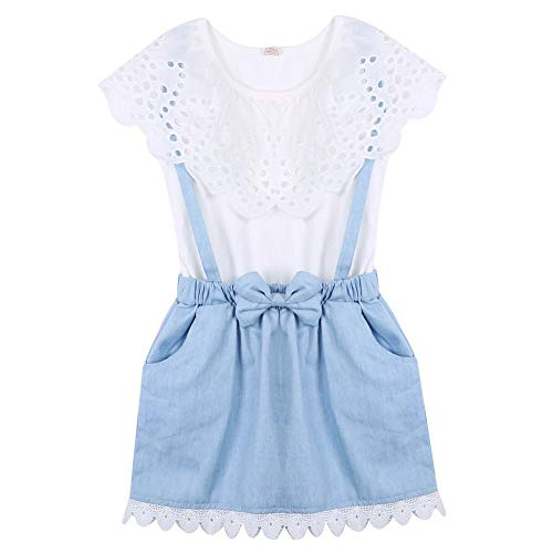Cute Summer Girl Clothes Jeans Dress Sleeveless Blouse Denim Sundress False Two-Piece Set. (White, 7-8 Years)