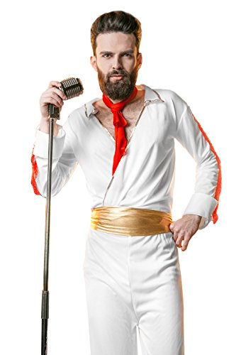 70s Rock And Roll Costumes (Adult Men Rockstar Costume King of Rock n Roll Rockabilly Showman Singer Dress Up (Medium/Large, White / Gold))