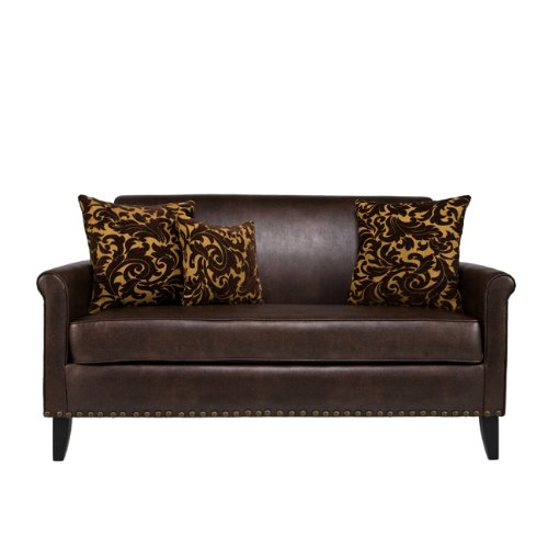 angelo:HOME Harlow Sofa, Renu Leather Coffee with Java Brown Velvet (Renu Leather Coffee)