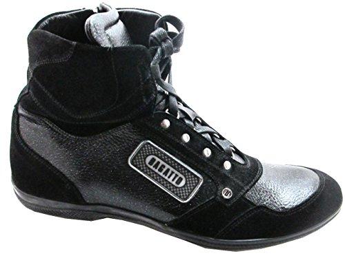 HighTop Mens 1309 Bagatto Sneakers Black Dressy Leather Silver Italian Swz68qw