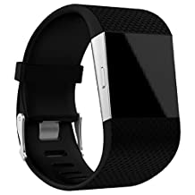Fitbit Surge Watch Band(Large), ABC® Replacement Wristband Band Strap Clasp Buckle Tool Kit with Tools (Black)