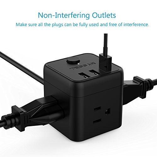 Portable Cube Power Strip with 3 USB Port & Switch Control, 3 Outlet Charging Station with 5 Ft Extension Cord for Nightstand & Desktop & Travel - Black by TESSAN (Image #1)