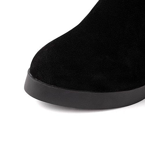 AllhqFashion Mujeres Sin cordones Puntera Cerrada Cuña Caña Baja Botas con Hebilla Negro