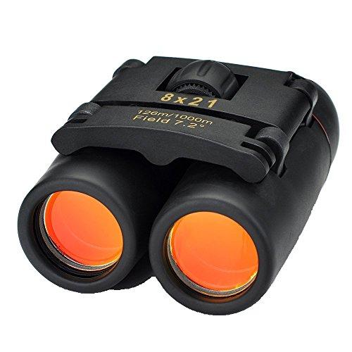 Patech 双眼鏡 軽量望遠鏡 昼夜兼用 8倍率 口径21mm 収納ケース付き ブラック