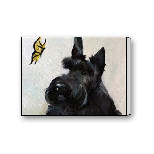 Scottish Terrier Paintings - Black Scottish Terrier Painting Custom Canvas Print Personal Photos Print on Canvas Ready to Hang on Your Wall as a Modern Art 10