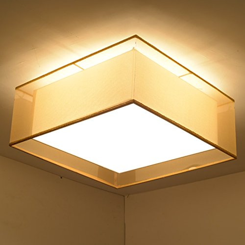 JJ LED moderno lámpara de techo cuadrado telas minimalista ...
