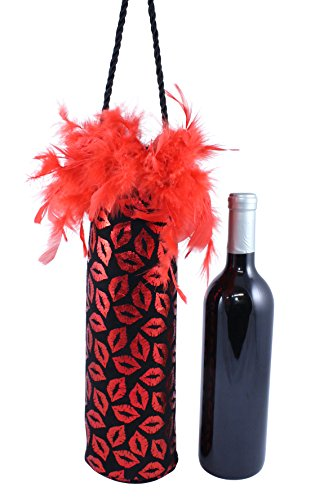 Red Metallic Lips Diva Wine Bottle Bag with Red Feather Trim