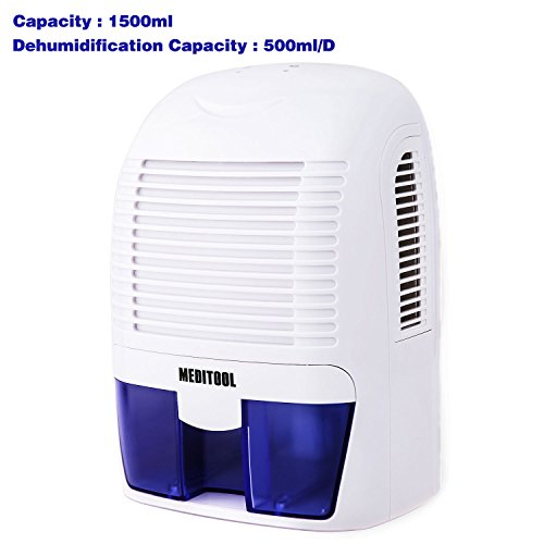 Meditool Electric Dehumidifier with 1.5L Water Tank, Auto Quiet Portable Compact Home Dehumidifiers for 2200 Cubic Feet Basement, Damp Air, Mold, Moisture in Home, Kitchen, Bedroom, Caravan, Office by Meditool
