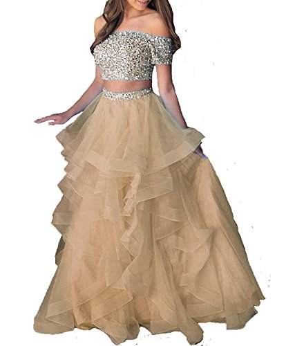Dressytailor Women's Two Piece Floor Length Organza Prom Dress Beaded Evening Gown Champagne