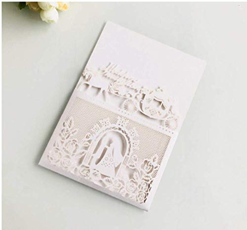 10PCS Carriage Laser Cut Wedding Invitations Cards Wedding Birthday Engagement Greeting Tksmart from Unknown