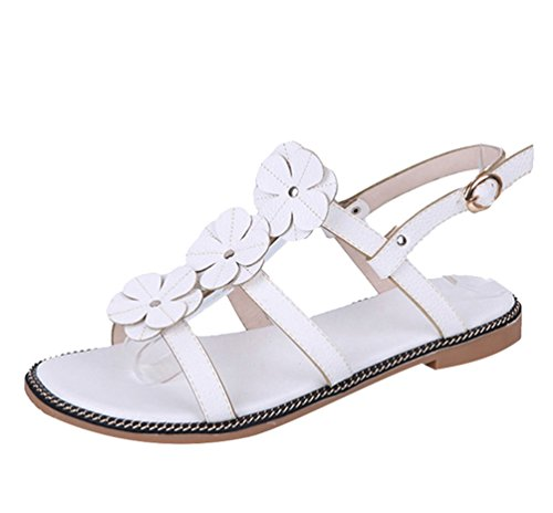 Toe Chaussures Bohème Femmes Tongs Chaussures Sandales Sandales Loisir Plates Peep Blanc Fleurs de CHENYANG Av6SExqx