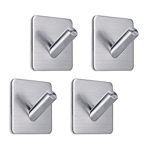 rong Adhesive Hooks Wall Hanger Garage Storage Organizer Stick On Bathroom Kitchen for Dog Leash, Umbrellas, Scarves, Towels, Robes, Bags, Coats, Keys, Calendars -4 Packs (Garage Hat)
